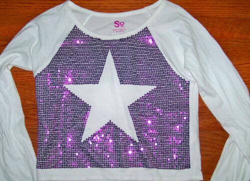 NWT SO Shirt LONG SLEEVE white DANCE purple SEQUIN SPARKLE Star L 14 $24