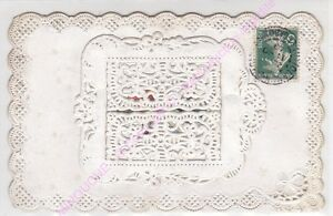 CPA-CANIVET-BLANC-Rare-Fenetre-dentelee-interieur-avec-message-hirondelle-ca1909