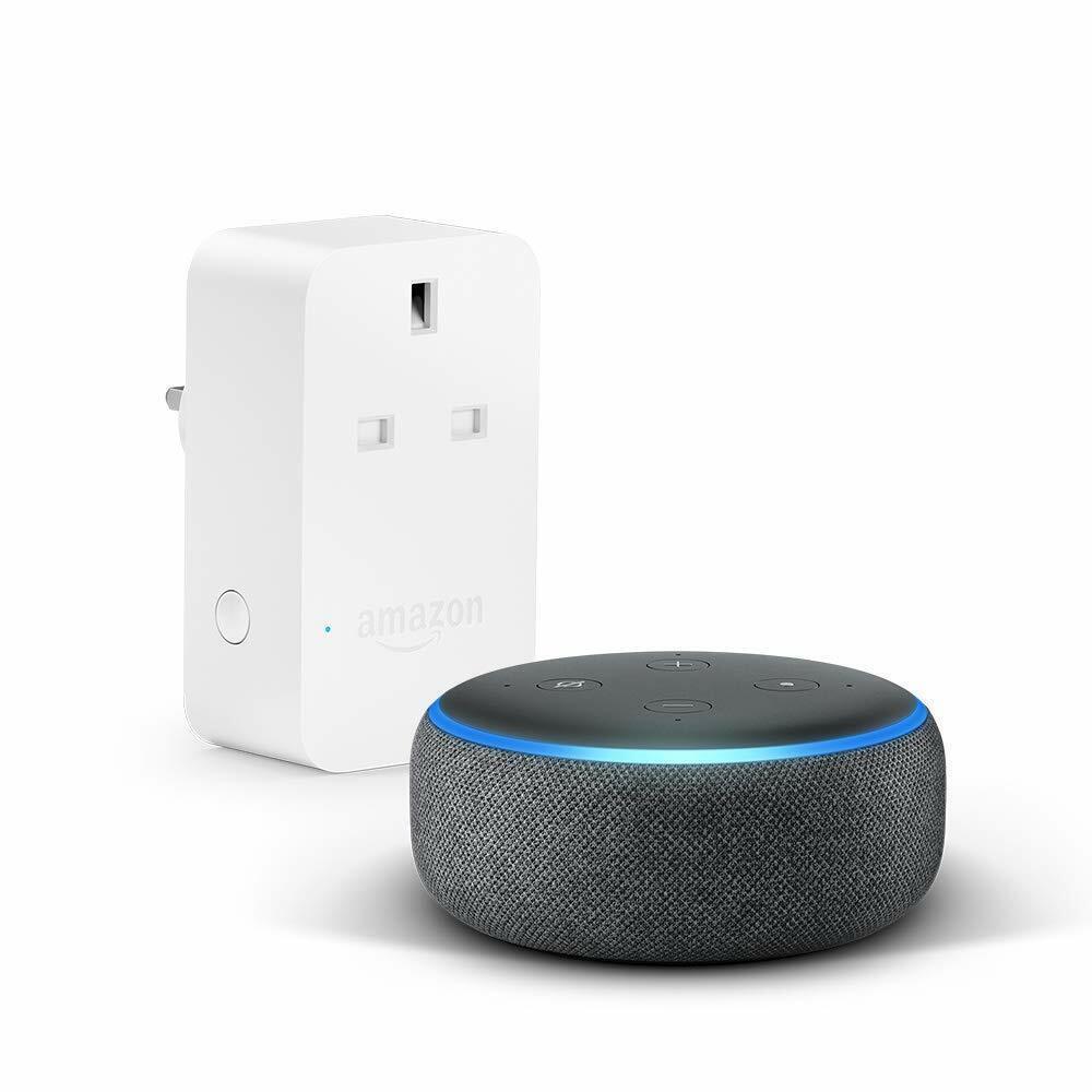 Amazon Echo Dot 3rd Gen - Charcoal Fabric With AMAZON Smart Plug