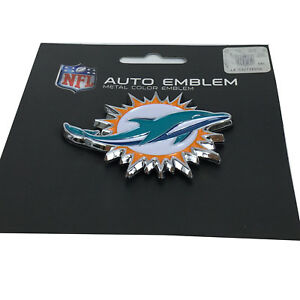 New-NFL-Miami-Dolphins-Auto-Car-Truck-Heavy-Duty-Metal-Color-Emblem