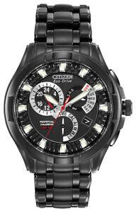 Citizen-Eco-Drive-Men-039-s-Perpetual-Calendar-Alarm-Black-42mm-Watch-BL8097-52E