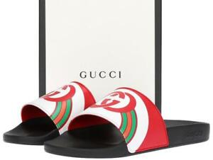572dcfa8a18 NEW GUCCI RED LOGO GG RUBBER SLIDES SANDALS FLIP FLOPS SHOES 10 G US ...