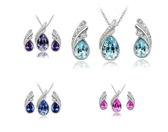 PINK/PURPLE/MIDNIGHT BLUE OR TURQUOISE AUSTRIAN CRYSTAL NECKLACE & EARRINGS SET