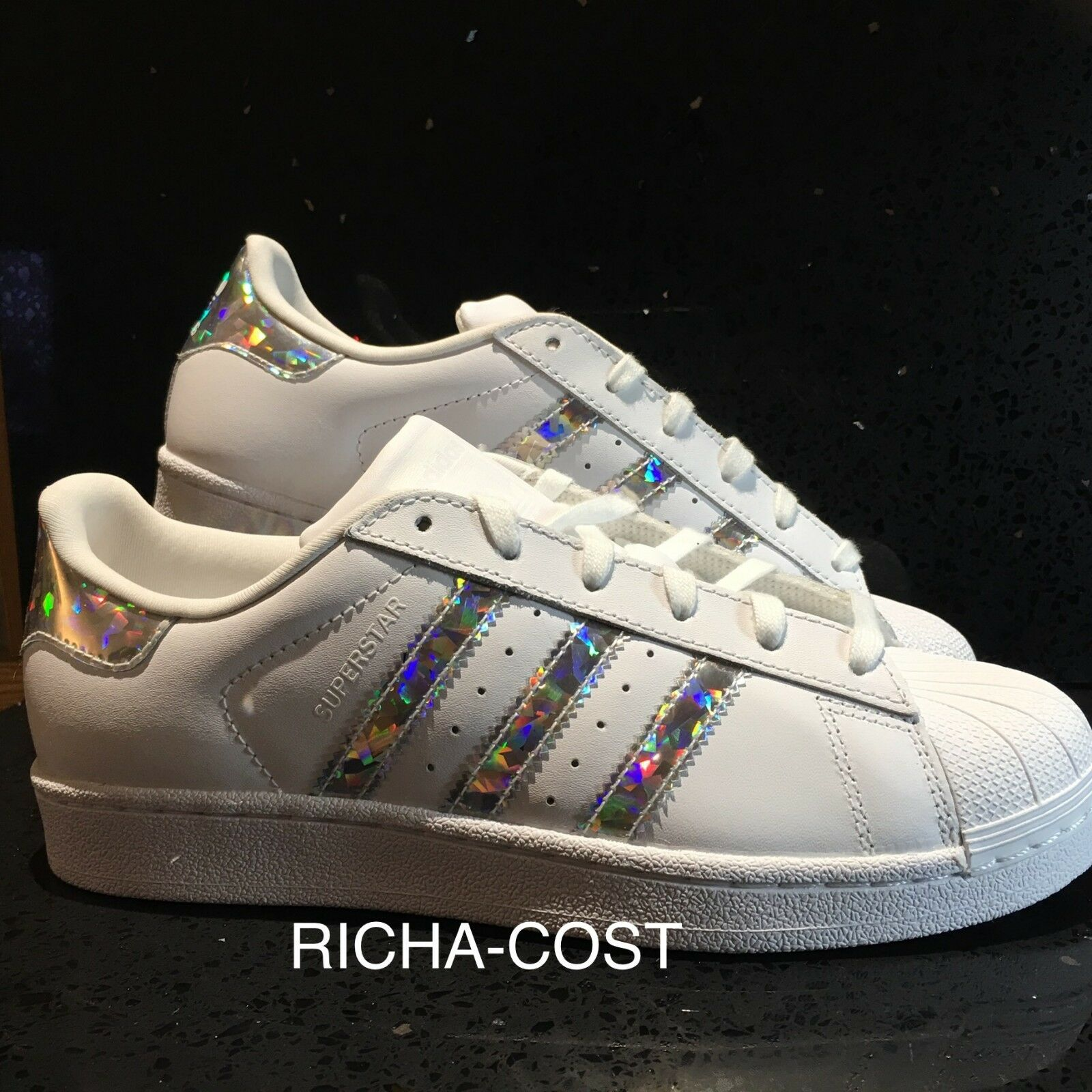 ADIDAS SUPERSTAR F33889 WHITE SILVER-3D HOLOGRAM GLITTER  ALL SIZES NEW BOXED