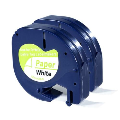 """2PK 91330 Label Tape Black on White Compatible Dymo Paper Letra Tag 12mm 1//2/""""*4m"""
