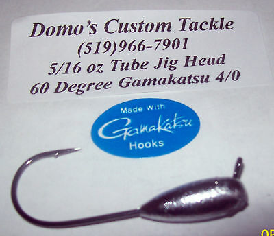 5 Pc 1//4 oz Tube Jig Head 60° Gamakatsu 4//0 EWG Hook Stupid Rig