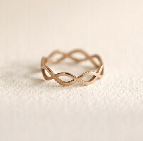 Infinity Flat Eternity Ring Band 10K 14K Solid Gold Ring Twist Stackable Rings
