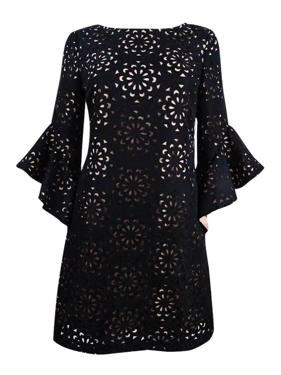 JAX Woherren Laser-Cut Jacquard Bell-Sleeve Dress