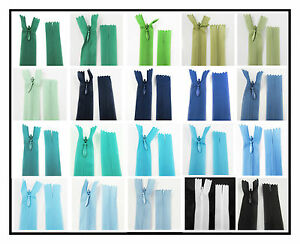 No-3-CONCEALED-5-034-40-034-CLOSED-END-NYLON-ZIPS-BLUE-amp-GREEN-HABERDASHERY-ZIPPER
