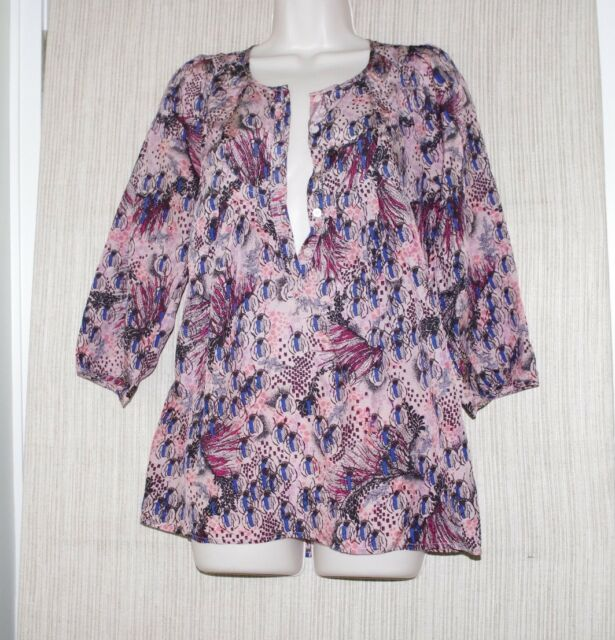 Rutzou Anthropolodie Silk Multi Color Print Blouse 3/4 Sleeve Tunic Size:6
