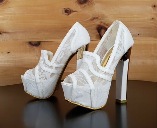 Lusty Sara Lace Inlay Pump White Platform Shoes Gold Sole Chunky High Heel