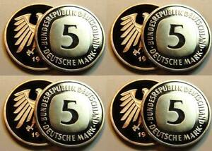 Germany 5 DM Currency Coin 1981 Dfgj 4 Piece Complete Proof