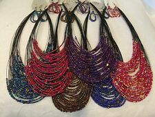 LOT  of 6 Multi-Color SEED BEAD NECKLACE SETS EARRING MULTI STRAND JEWELRY
