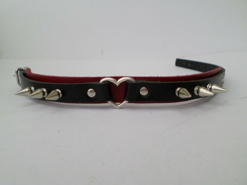 Con Cerradura Cuero Con Picos Fetiche Bondage Collar de 20mm de Ancho Negro y Rojo Corazón