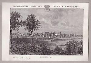 Merseburg-Sachsen-Anhalt-Gesamtansicht-Holzstich-von-Clerget-um-1880