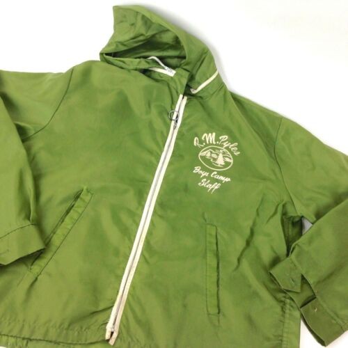Vtg Pyles Boys Camp Green Nylon Jacket hoodie Paci