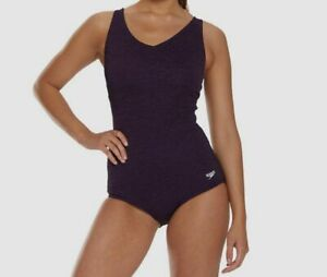 199-Speedo-Women-Purple-V-Neck-Pebble-Textured-V-Neck-One-Piece-Logo-Swimsuit-8