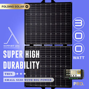 12V 300W Folding Solar Panel Kit Mono Portable Blanket Caravan Camping Charger