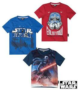 New-T-Shirt-Boys-Star-Wars-short-Sleeve-Red-Blue-Grey-116-128-140-152-401
