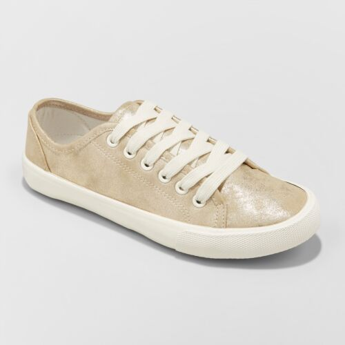 Universal Thread NEW Women/'s Mary Metallic Gold Lace Up Sneakers
