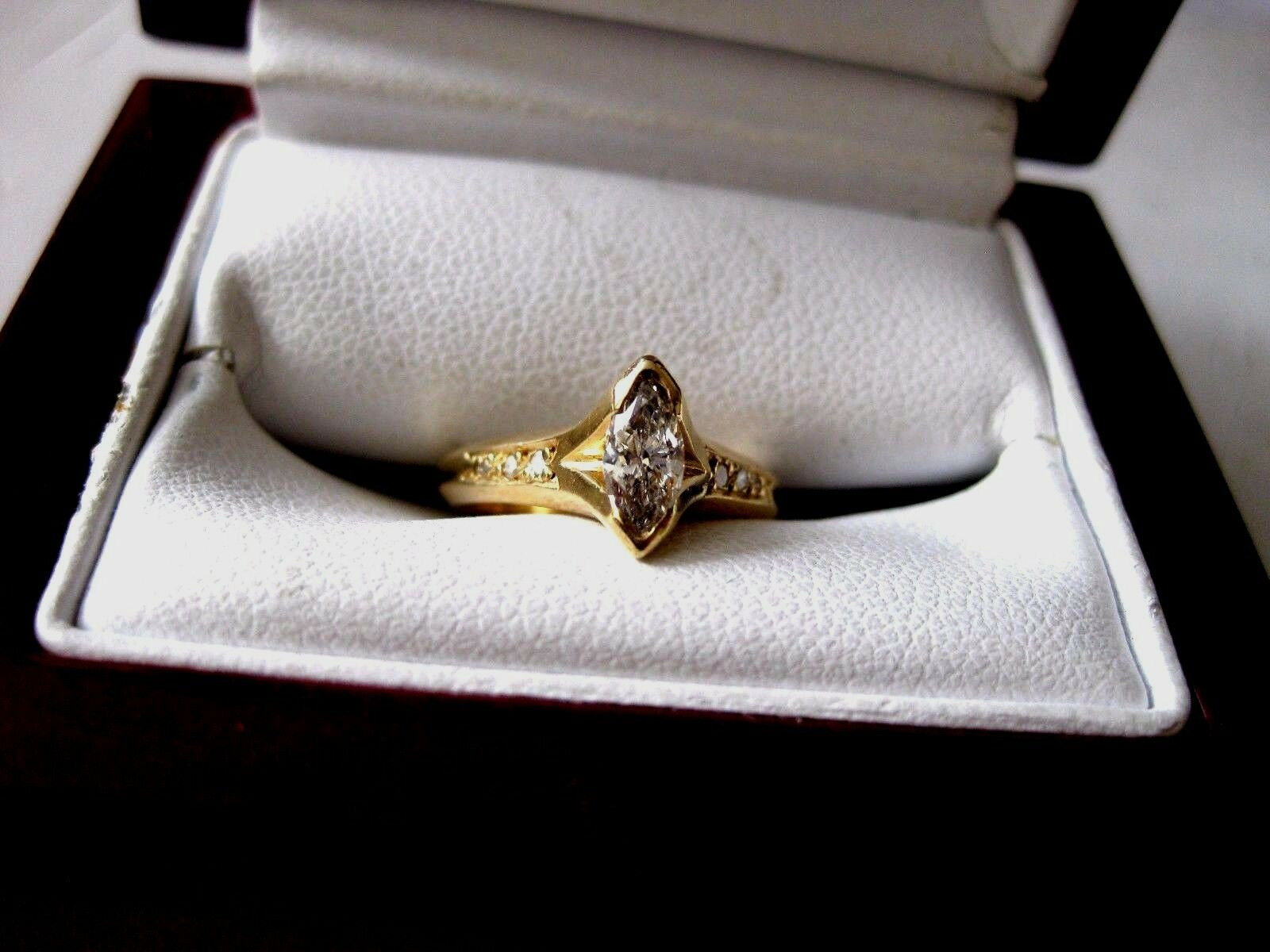 VINTAGE 14K YELLOW gold ENGAGEMENT RING with DIAMONDS