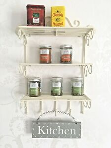 French-Vintage-Style-Metal-Wall-Shelf-Unit-Cream-Storage-Spice-Rack-Hook-SECONDS