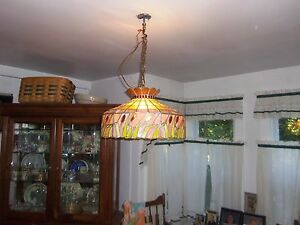Image Is Loading VINTAGE LARGE STAINED GLASS HANGING LIGHT CHANDELIER KITCHEN