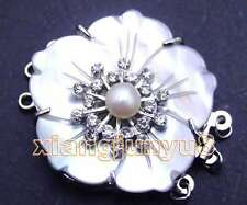 SALE Big 35mm Shell and 7-8mm Natural pearl White crystal 3 strands Clasp-gp124