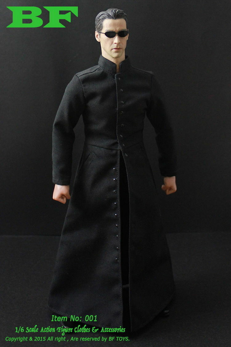 BF BF BF Toys 1 6 Matrix Keanu Reeves NEO Full Sets Uniform Clothing Sets F 12  Figure 16bd0e