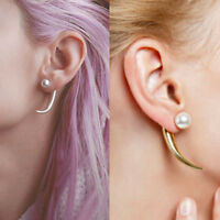Women Simulated Pearl Gold Silver Stud Earrings horns Double Sided Earrings 2016