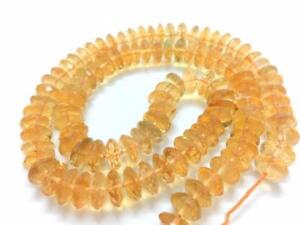 Citrine Rondelles 44 Pieces Half Strand 10 Inches 9mm Micro Faceted Lemon Citrine Rondelles