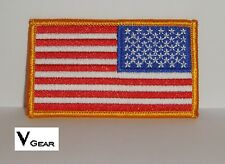 US USA American Flag patch REVERSE GOLD BORDER **BUY 2 GET 1 FREE**