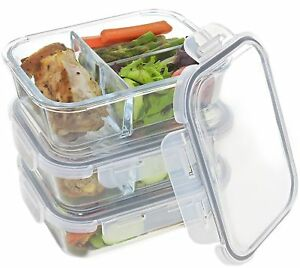 Set Of 3 Divided Glass Meal Prep Containers Food Storage With