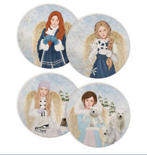 Item 4 Winter Wonder Full Angels Coasters Set Of Polar Bear Cubs Snow Ice Skates New