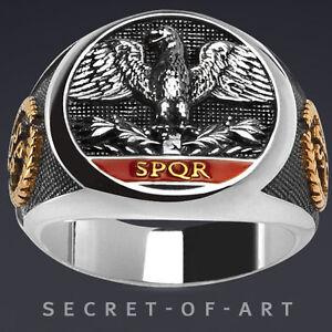 IMPERIAL-ROMAN-EAGLE-SPQR-SILBER-RING-24K-GOLD-PLATED-ROMISCHER-ADLER