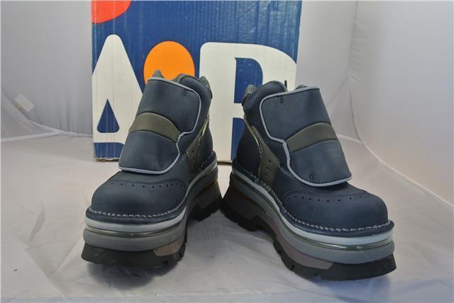 Botas raras Arte EE. UU. 4 (EU37) Azul Gamuza Goth Botas De Trabajo Con Puntera De Acero Correa Greb