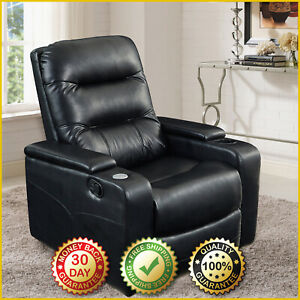 FAUX-LEATHER-RECLINER-CHAIR-Movie-Theater-Seat-Home-Padded-USB-Cup-Holder-Black