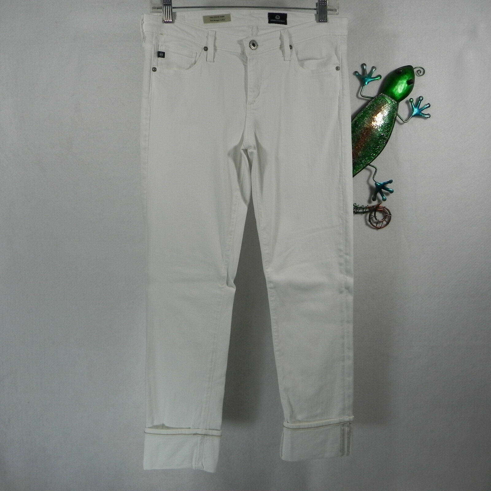 AG Adriano goldschmied Womens Jeans The Stevie Cuff Slim Straight Cuff White 28