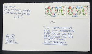 US-Airmail-Cover-San-Francisco-Flower-Stamp-Pair-Pair-USA-Airmail-Letter-H-10907