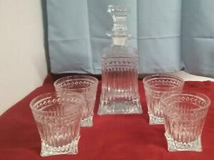 1000ml Globe World Etched Whiskey Decanter Set For Vodka Liquor w//4Pcs Glass Cup