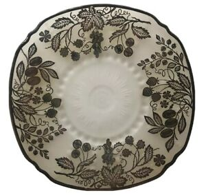 Antique-Sterling-Overlay-Frosted-Glass-Plate-Fruit-11-039-039-Vintage-Serving-Platter