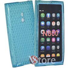 Cover Custodia Per Nokia Lumia 800 Gel Silicone TPU Azzurro Diamond + Pellicola