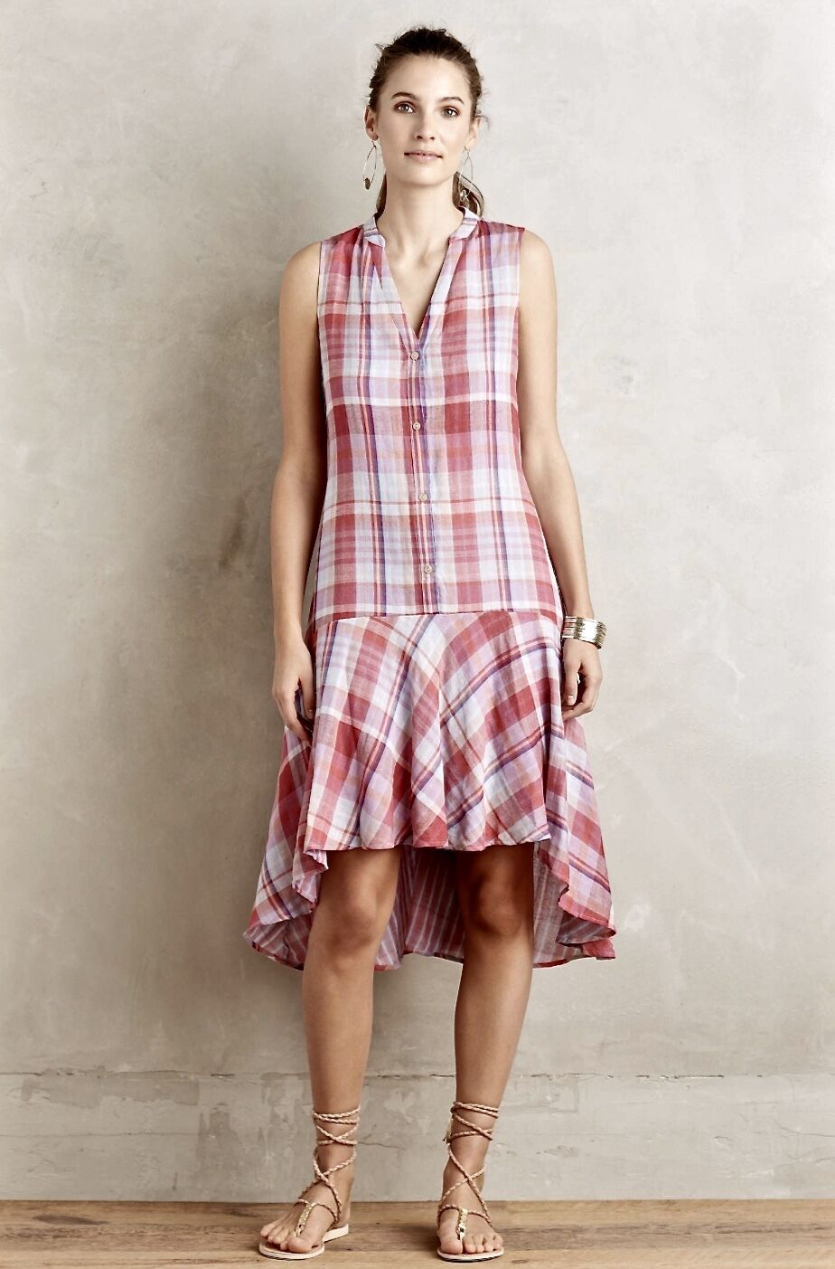 c30ba745fcd7 NEW Anthropologie Maeve pink bluee Voile Plaid Ruffle Swing Flounce Hi Lo Dress  S