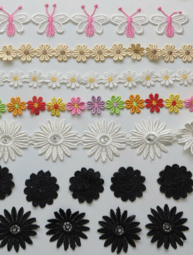Fabric Craft Embroidery lace 5 white sewing wedding decor daisy applique flower