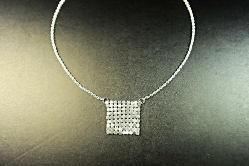 STERLING SILVER NECKLACE SQUARED ROMAN SILVER SEQUINED PATCH PENDANT CL13