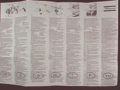 SHAKESPEARE SIGMA 2200CK REEL OWNER MANUALS REPRO