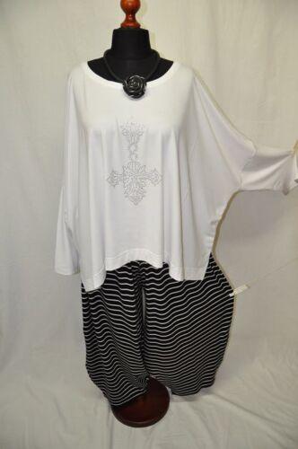 Lagenlook übergrosse JERSEY-Ballonhose Mini-Streifen black/&white 2XL,3XL,4XL,5XL