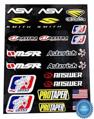 4MX Sticker Decal Sheet Pro Taper ASV Smith MSR Answer AMA fits Quad Bike