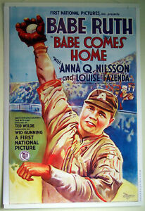 Large-Format-Facsimile-of-1927-Babe-Ruth-034-Babe-Comes-Home-034-Movie-Poster-36x24