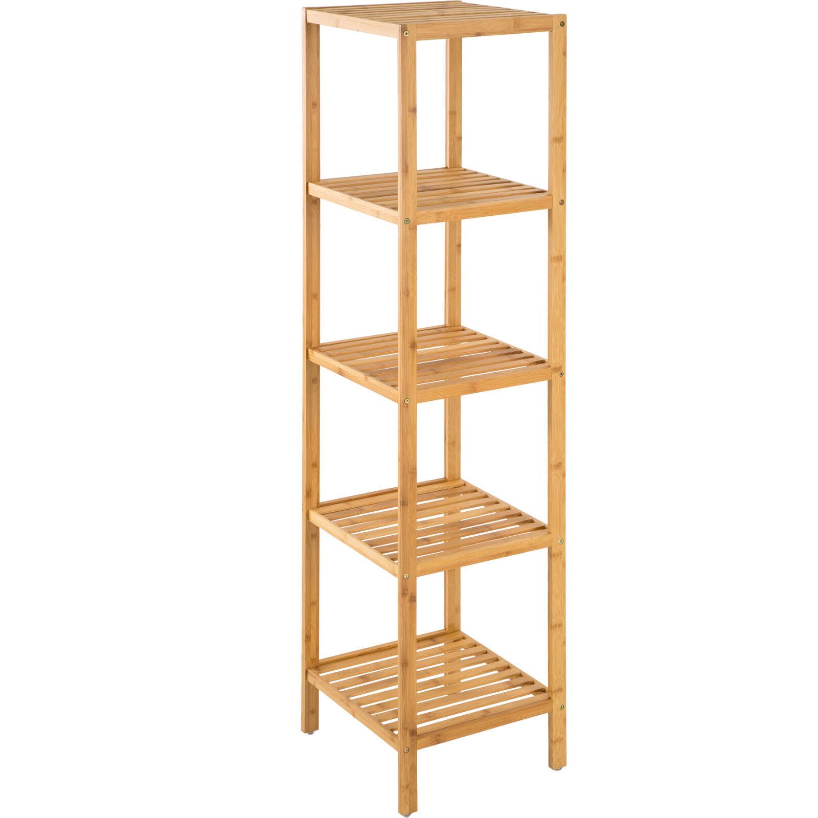 Estantería de madera bambú con 5 niveles para baño toallas librería organizador.